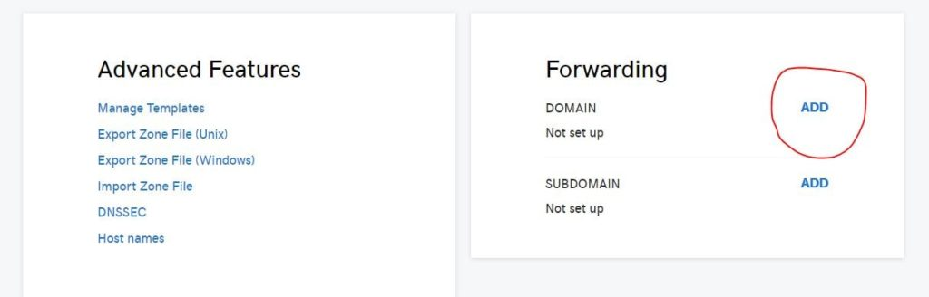 add domain forwarding